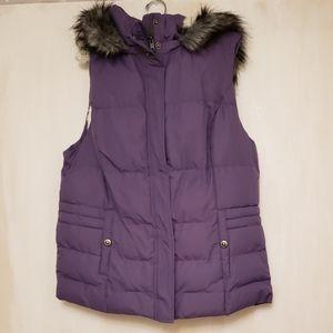 GreenTea Sherpa Puffer Vest W/ Faux Fur Trim